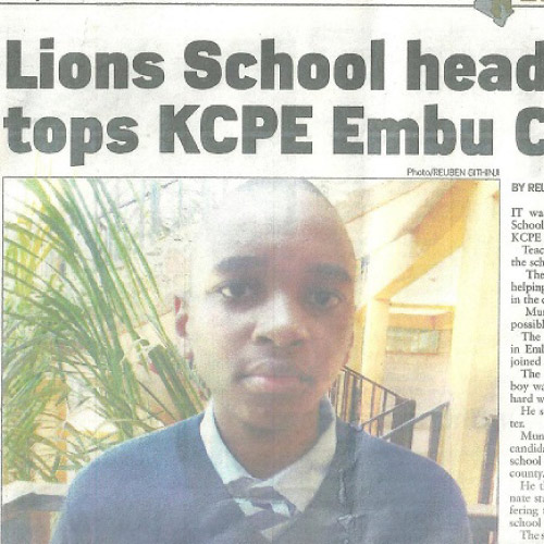 Lions School Head boy Tops KCPE